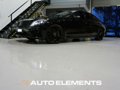Auto Elements Australia Sydney HaloEFX Performance Coatings Mercedes S500 AMG Black Gangster Peel Removable Paint Gloss Protection Front